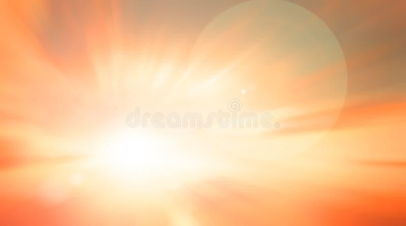 世界环境日概念:太阳光和摘要弄脏了秋天日出背景 库存例证