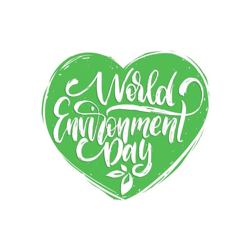 世界环境日,手字法卡片,海报的等 传染媒介书法例证在心脏形状背景中 皇族释放例证