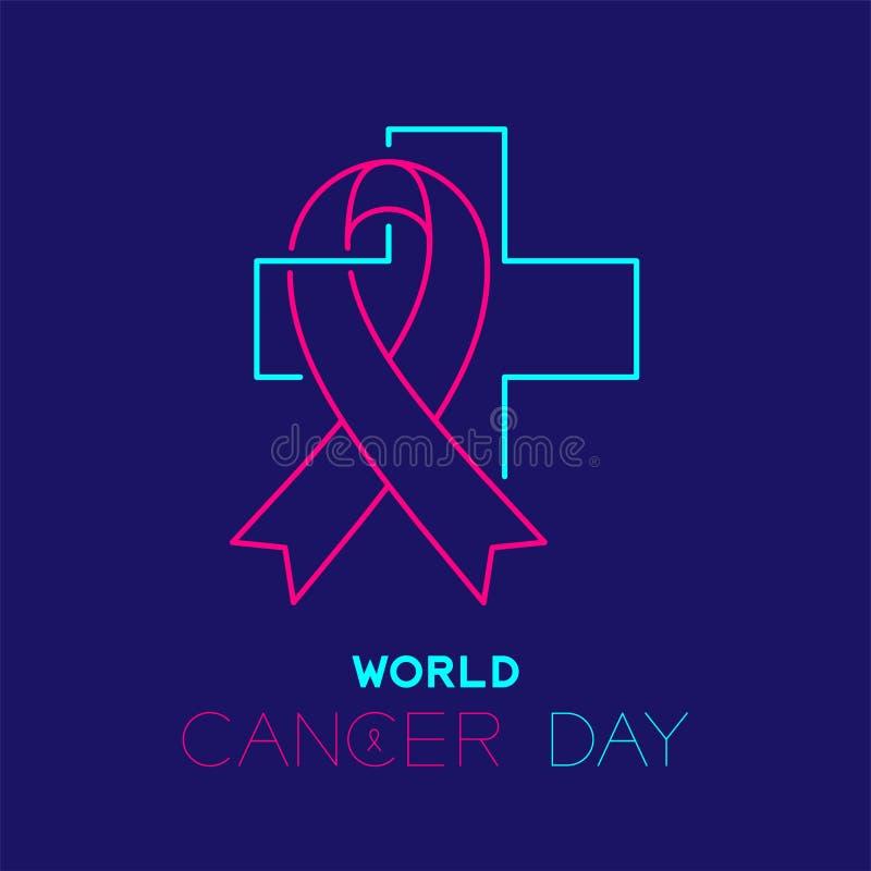 世界癌症天商标象概述冲程集合破折号线在深蓝背景和发怒例证隔绝的设计、丝带 向量例证