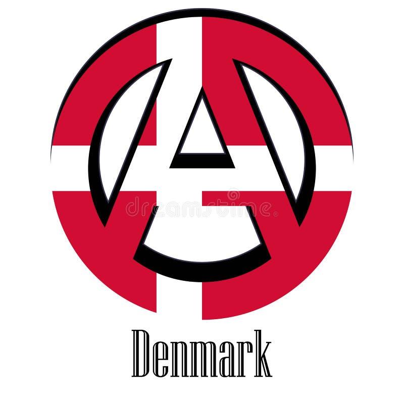 世界的丹麦的旗子以无政府状态的形式标志的 皇族释放例证