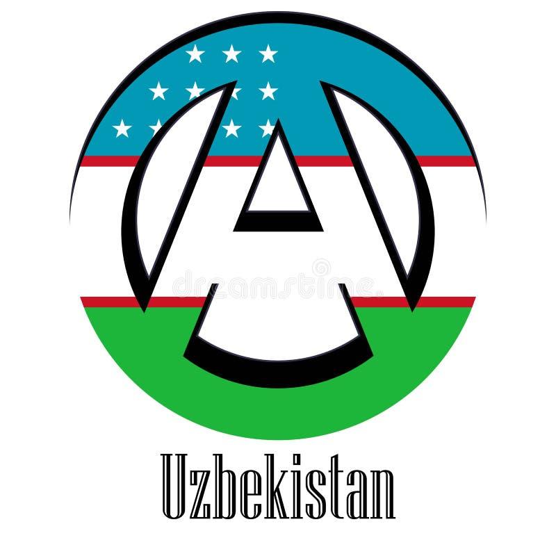 世界的乌兹别克斯坦旗子以无政府状态的形式标志的 库存例证