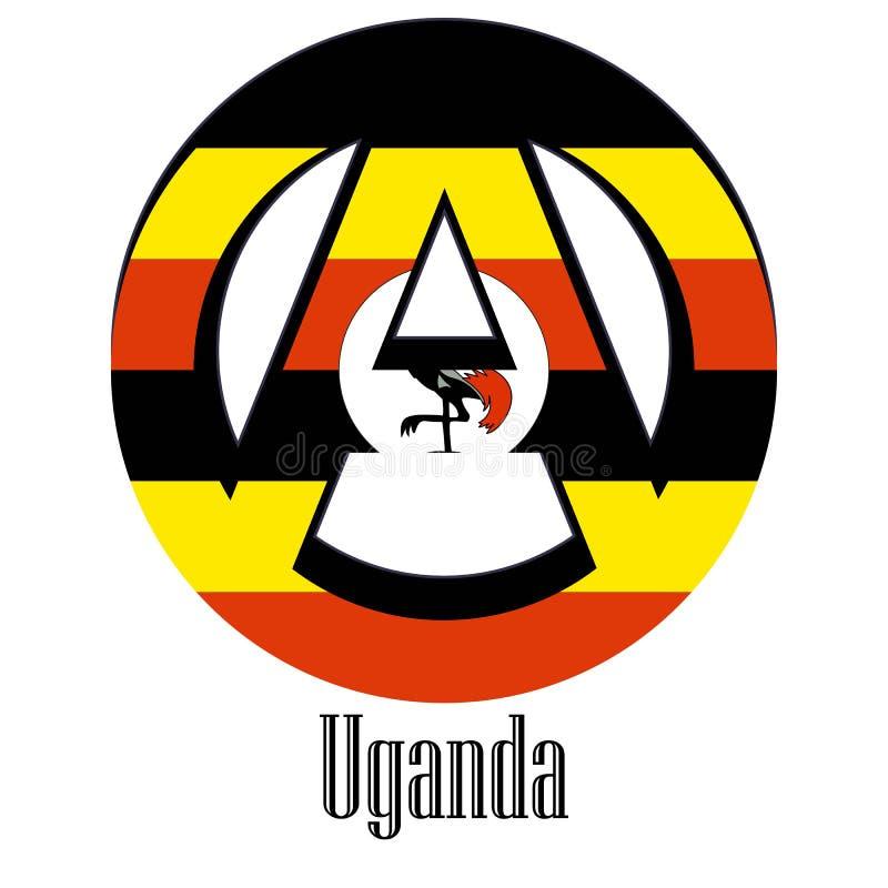 世界的乌干达的旗子以无政府状态的形式标志的 库存例证