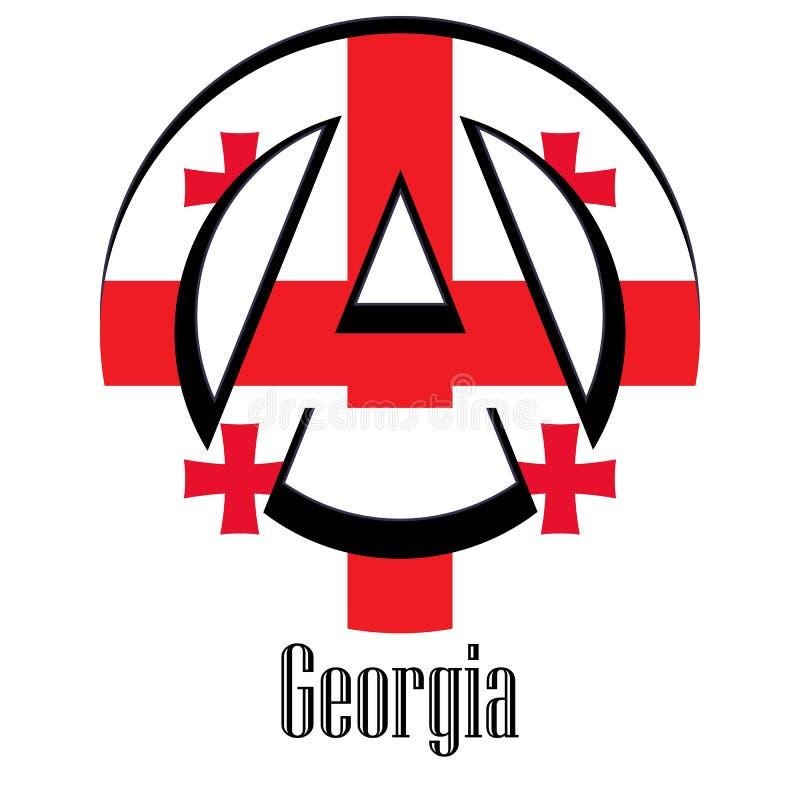 世界的乔治亚旗子以无政府状态的形式标志的 皇族释放例证