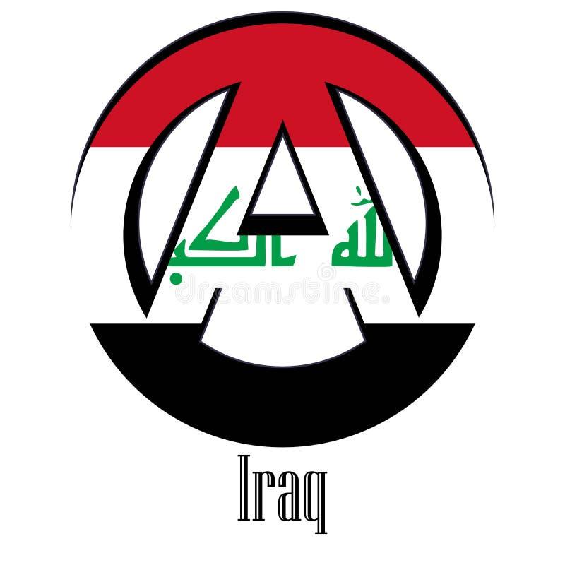 世界的伊拉克的旗子以无政府状态的形式标志的 皇族释放例证