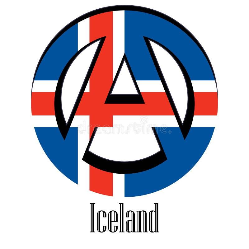 世界的冰岛的旗子以无政府状态的形式标志的 皇族释放例证
