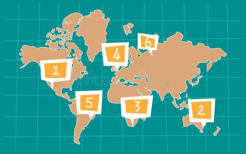 世界的动画片地图 向量例证