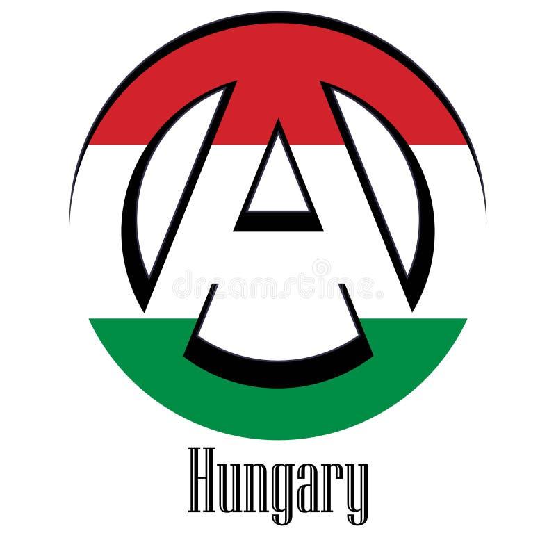 世界的匈牙利的旗子以无政府状态的形式标志的 库存例证