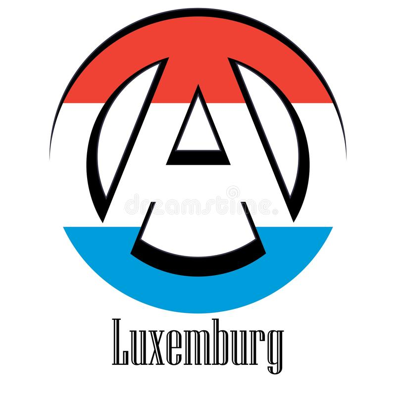 世界的卢森堡旗子以无政府状态的形式标志的 库存例证