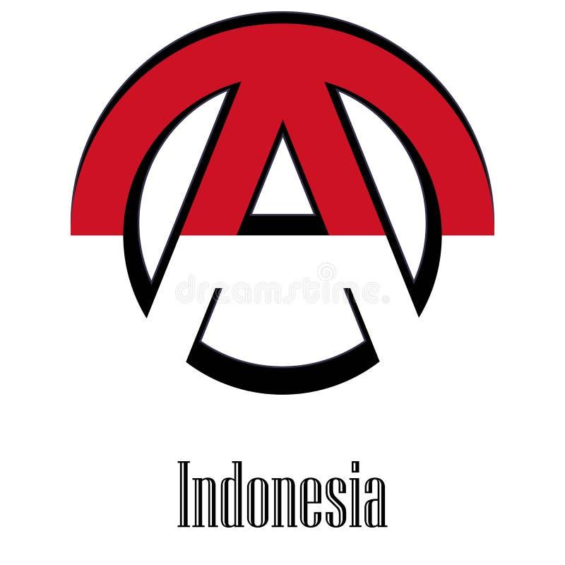 世界的印度尼西亚的旗子以无政府状态的形式标志的 向量例证