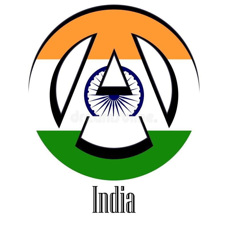 世界的印度的旗子以无政府状态的形式标志的 向量例证