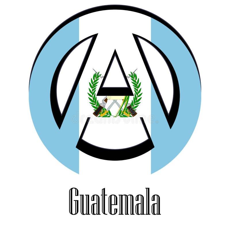 世界的危地马拉的旗子以无政府状态的形式标志的 向量例证