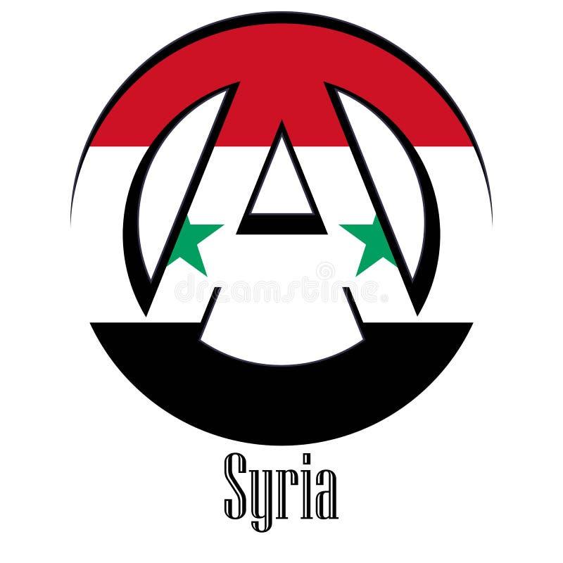 世界的叙利亚的旗子以无政府状态的形式标志的 皇族释放例证