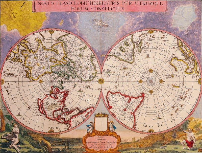 世界的古色古香的地图 免版税库存图片