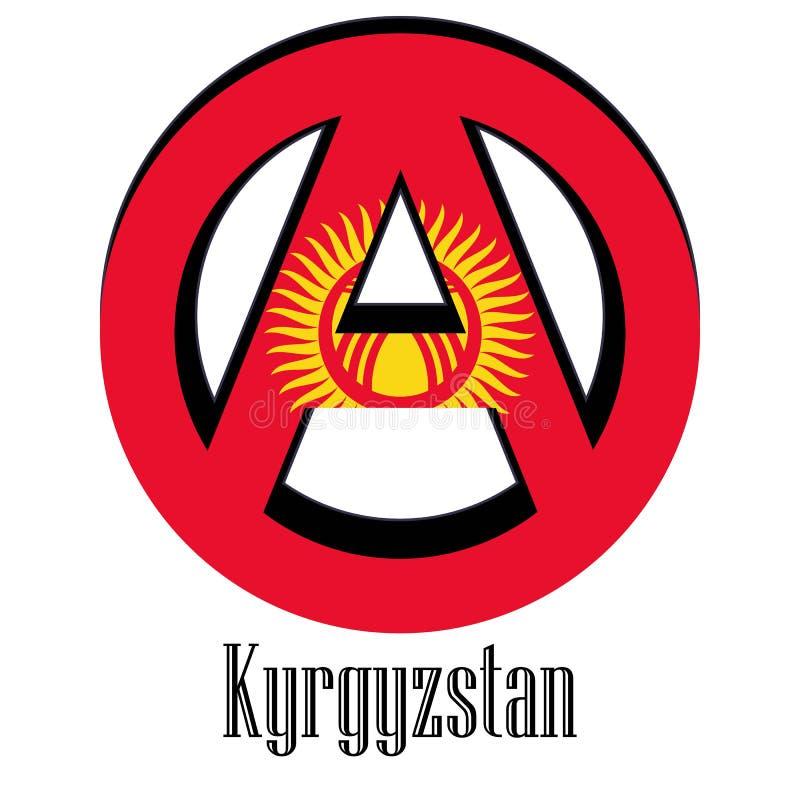 世界的吉尔吉斯斯坦的旗子以无政府状态的形式标志的 库存例证