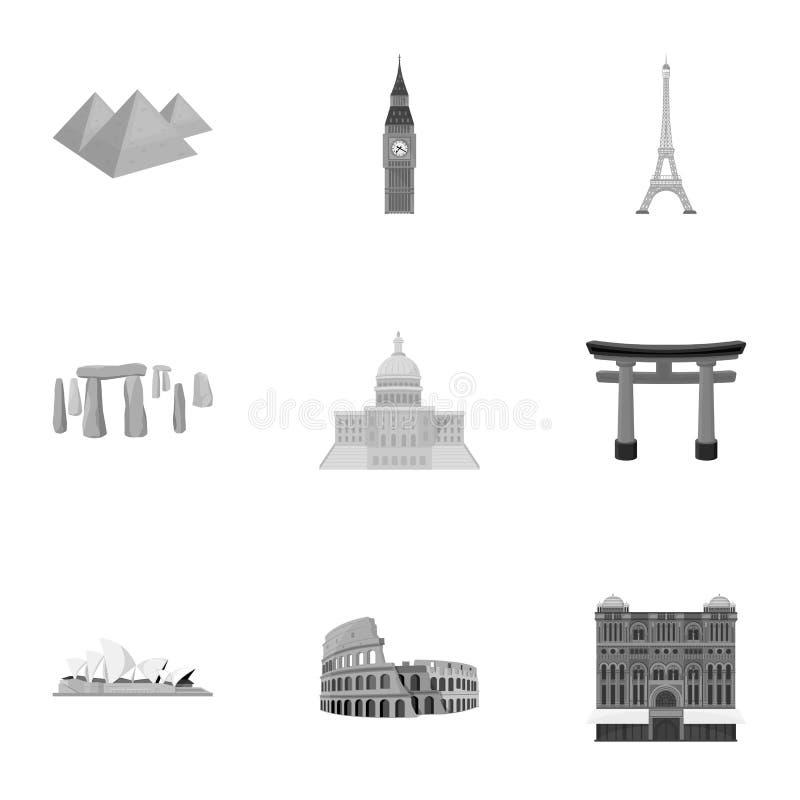 世界的国家的视域 不同的国家和城市的著名大厦和纪念碑 国家象 皇族释放例证