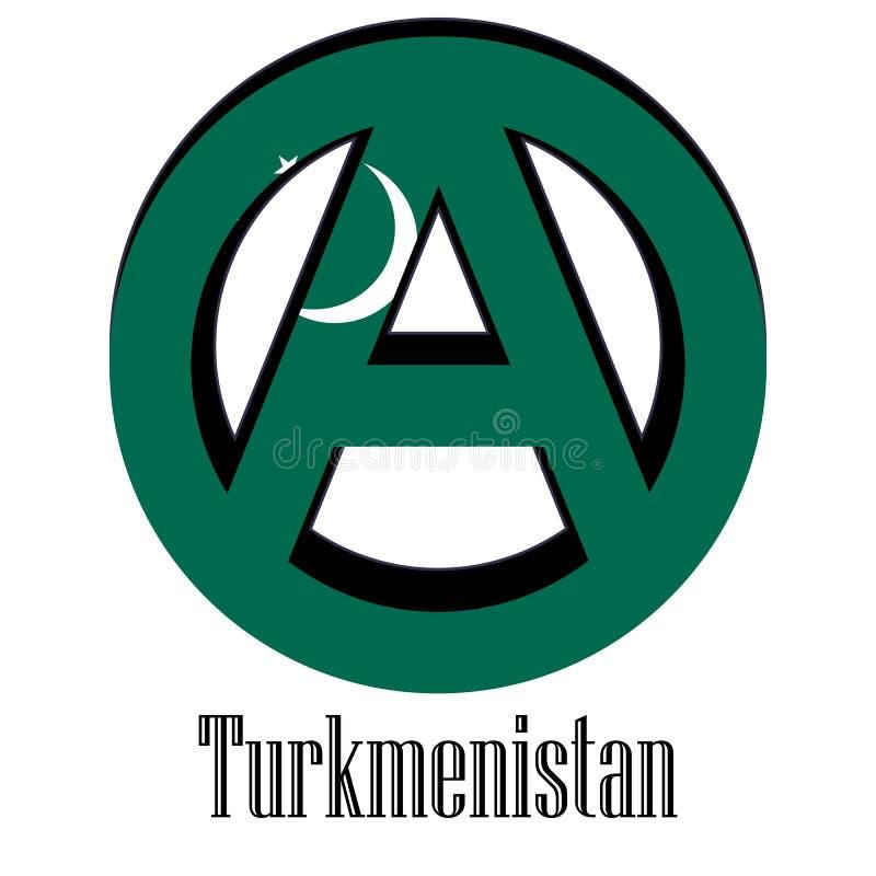 世界的土库曼斯坦旗子以无政府状态的形式标志的 皇族释放例证