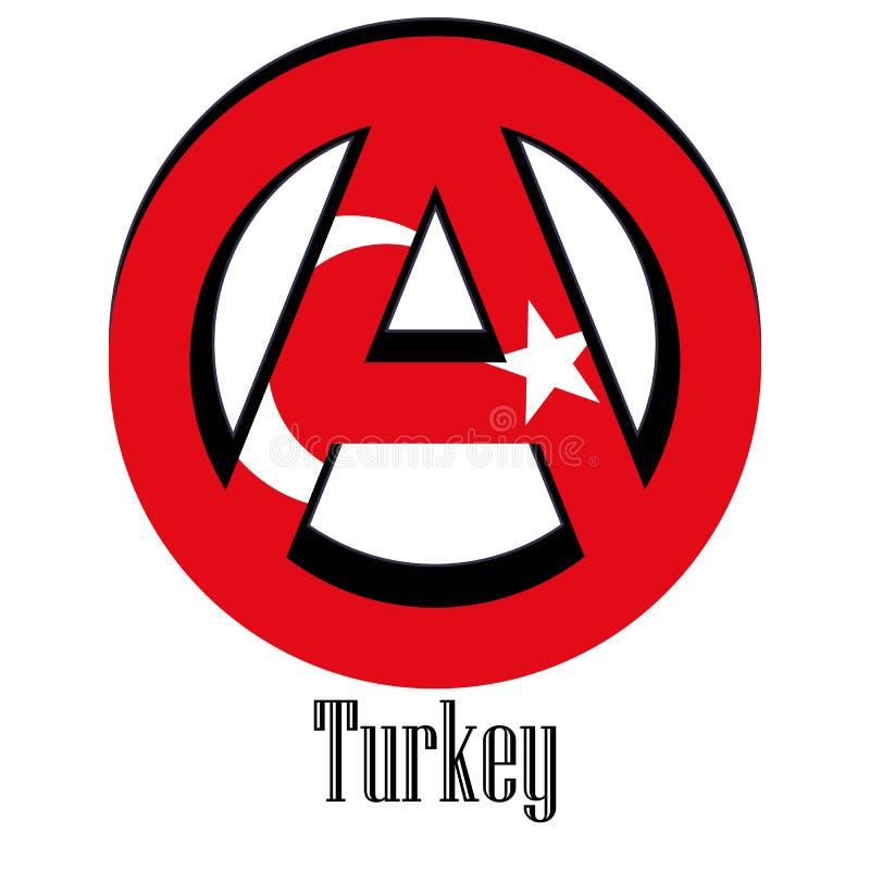 世界的土耳其的旗子以无政府状态的形式标志的 库存例证