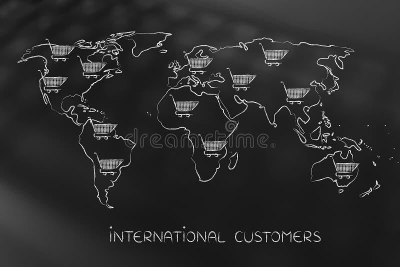 世界的地图与到处购物车的,全球性营销 免版税库存照片