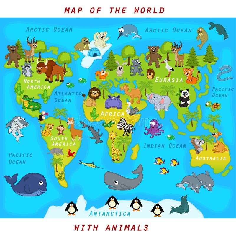 世界的地图与动物的 向量例证