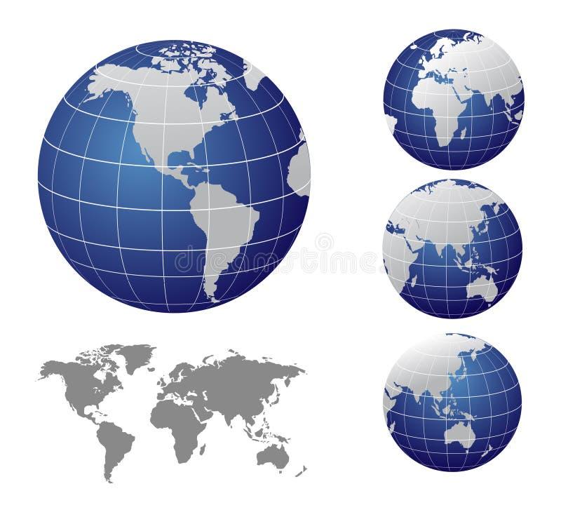 世界的地图和地球 库存例证