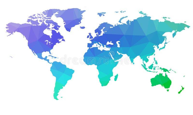 世界的地图在三角的 向量 2 向量例证