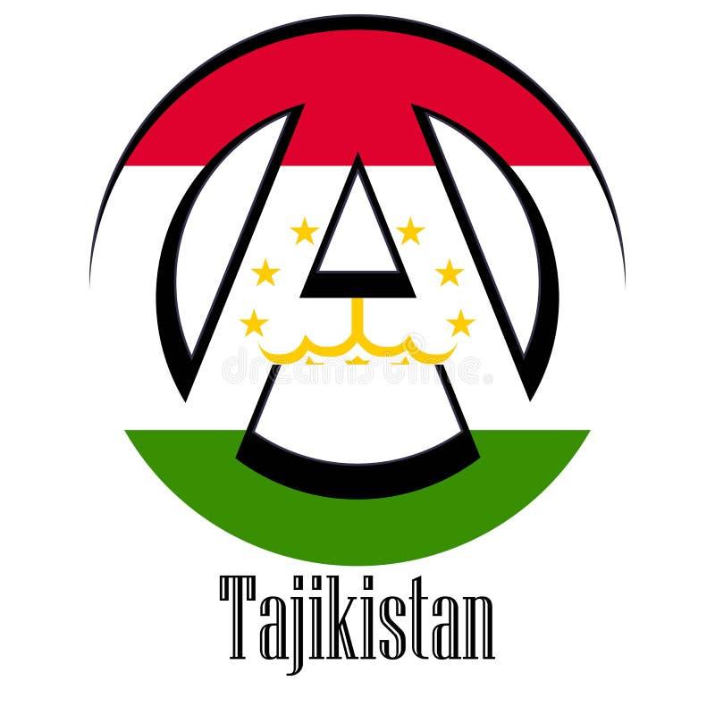 世界的塔吉克斯坦旗子以无政府状态的形式标志的 向量例证