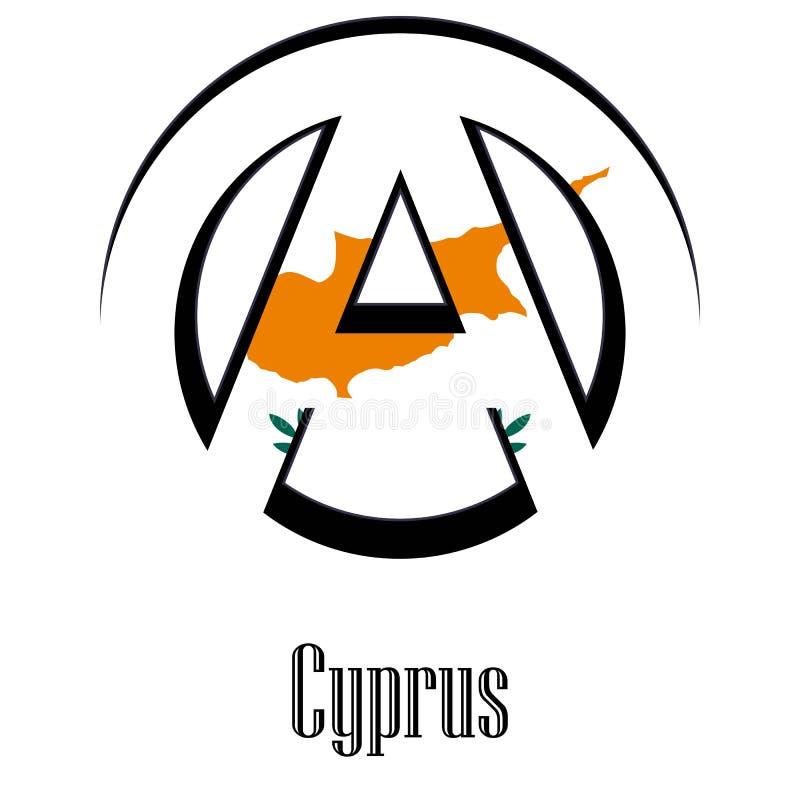 世界的塞浦路斯旗子以无政府状态的形式标志的 库存例证