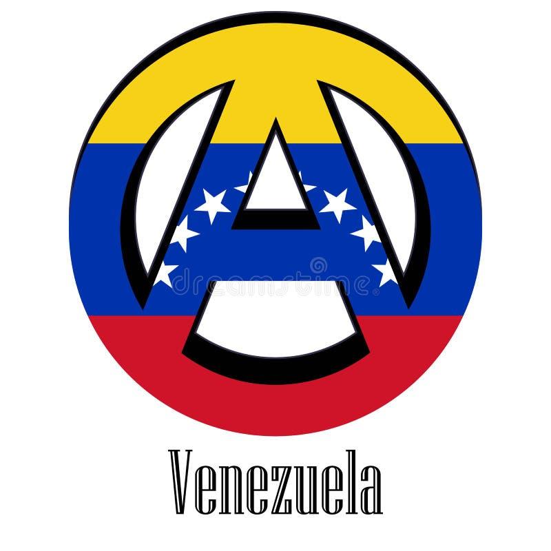 世界的委内瑞拉的旗子以无政府状态的形式标志的 皇族释放例证