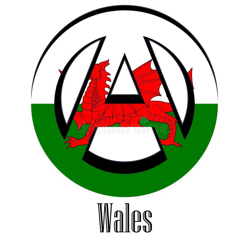 世界的威尔士的旗子以无政府状态的形式标志的 皇族释放例证