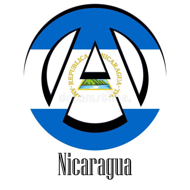 世界的尼加拉瓜的旗子以无政府状态的形式标志的 向量例证