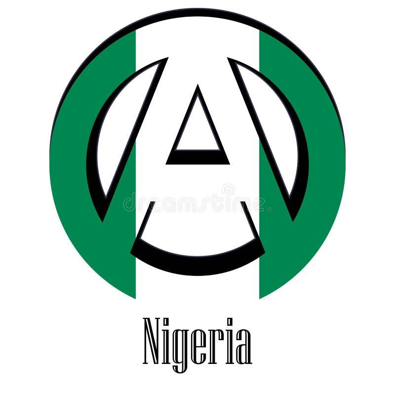 世界的尼日利亚的旗子以无政府状态的形式标志的 库存例证
