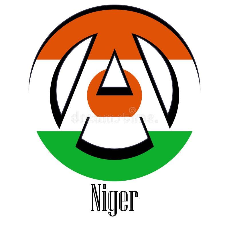 世界的尼日尔的旗子以无政府状态的形式标志的 向量例证