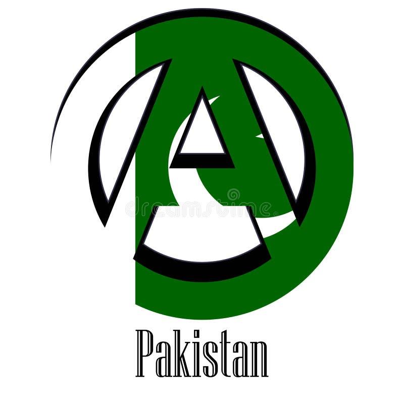 世界的巴基斯坦的旗子以无政府状态的形式标志的 皇族释放例证