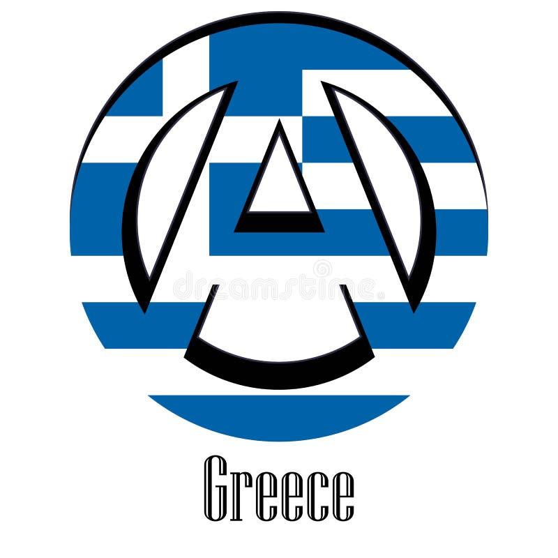 世界的希腊的旗子以无政府状态的形式标志的 皇族释放例证