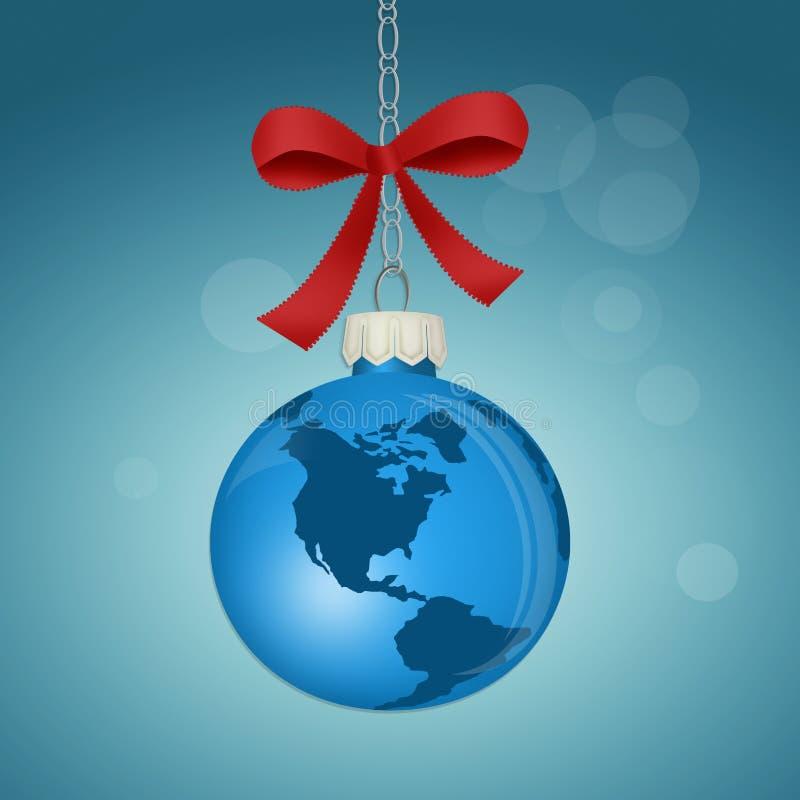 以世界的形式圣诞节球 向量例证