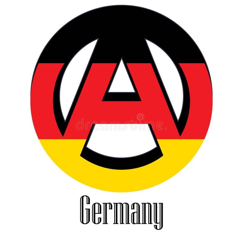 世界的德国的旗子以无政府状态的形式标志的 向量例证