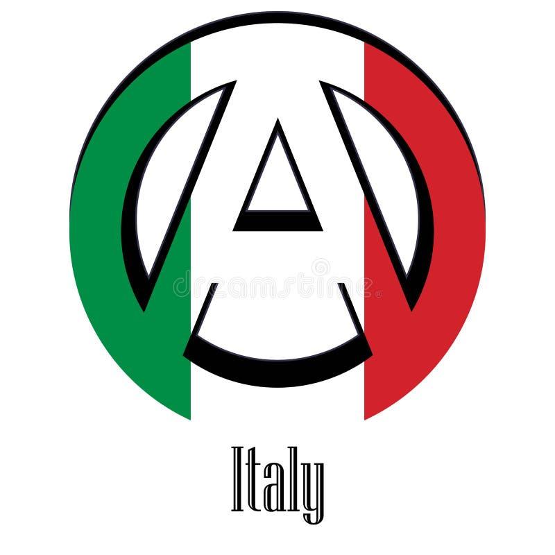 世界的意大利的旗子以无政府状态的形式标志的 向量例证