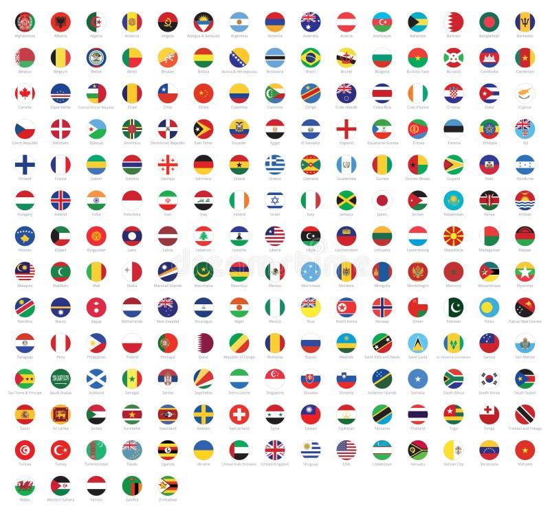 世界的所有国旗与名字的 被环绕的旗子,圆设计 在白色背景隔绝的优质传染媒介旗子 向量例证