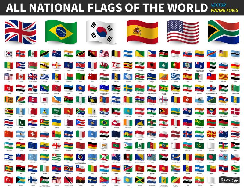 世界的所有国旗 挥动的旗子设计 ?? 皇族释放例证
