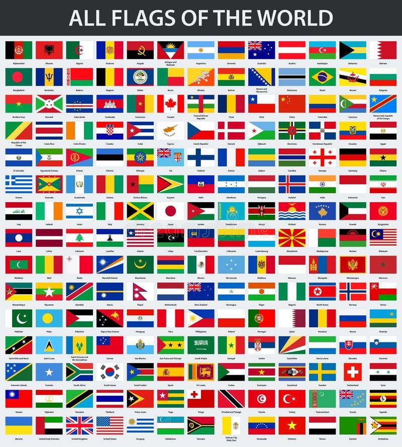 世界的所有旗子以字母顺序 向量例证