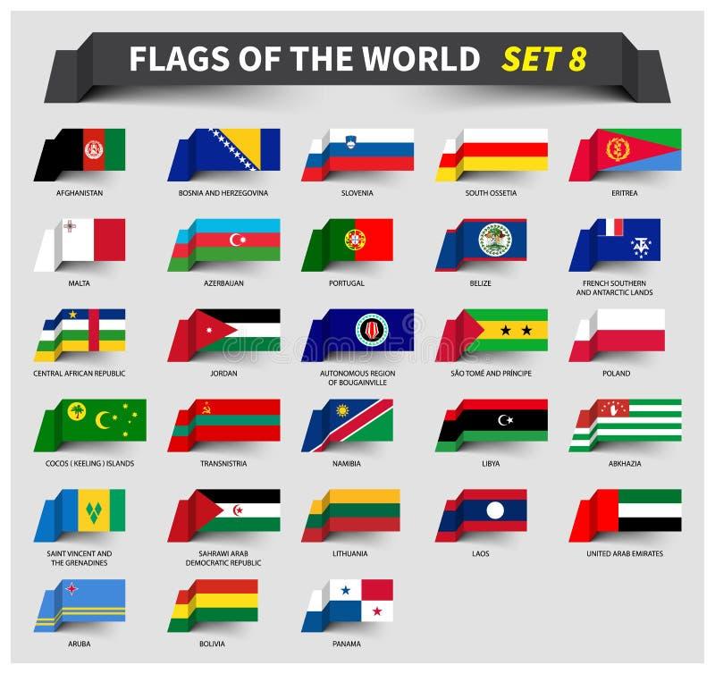 世界的所有旗子设置了8 挥动的丝带样式 皇族释放例证