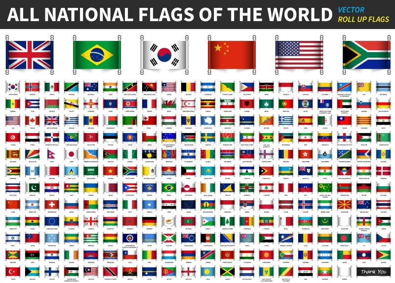世界的所有正式国旗 卷起设计 向量 向量例证
