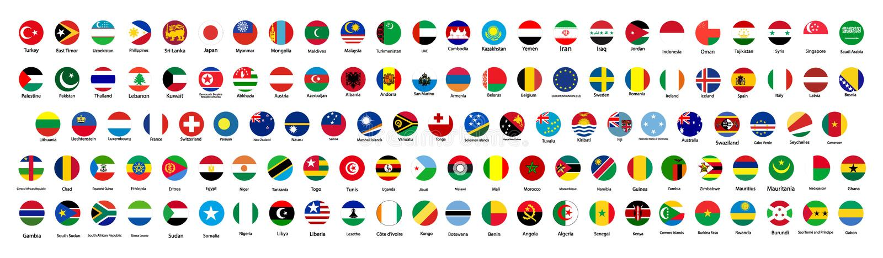 世界的所有正式国旗 圆设计 皇族释放例证