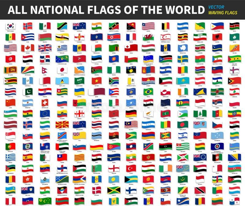 世界的所有正式国旗 挥动的设计 向量 皇族释放例证