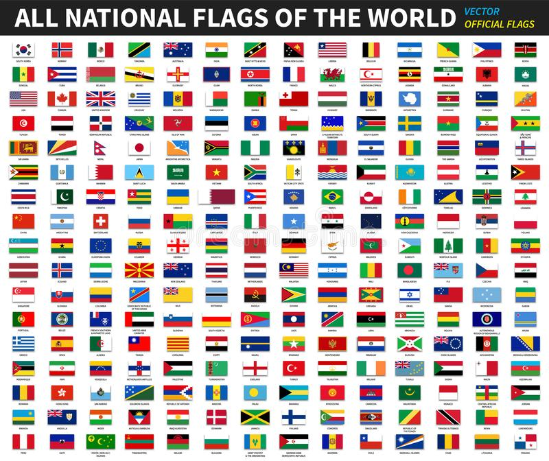 世界的所有正式国旗 正式设计 向量 向量例证