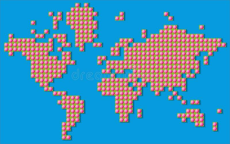 世界的抽象地图与大桃红色花的 向量例证