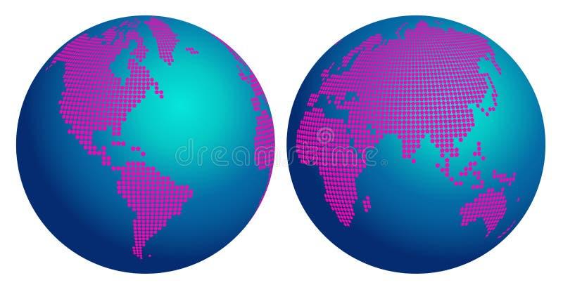 世界的抽象地球地图与桃红色花的加点 向量例证