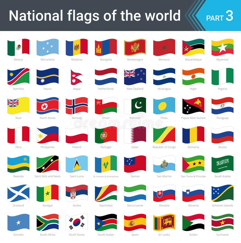 世界的挥动的旗子 旗子的汇集-国旗全套  向量例证