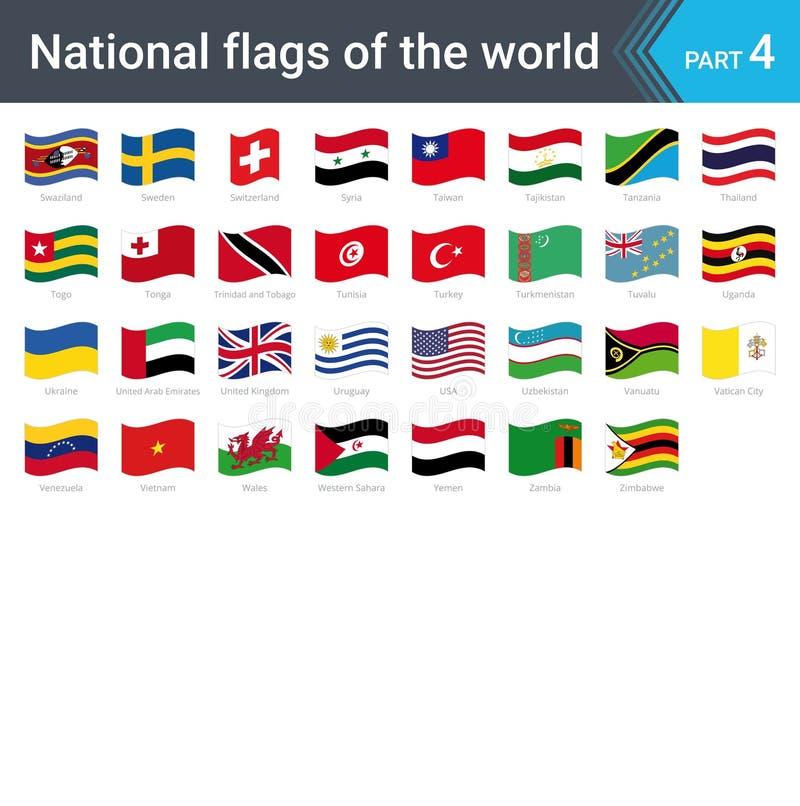世界的挥动的旗子 旗子的汇集-国旗全套  皇族释放例证