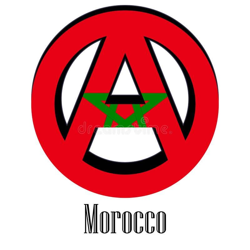 世界的摩洛哥的旗子以无政府状态的形式标志的 皇族释放例证